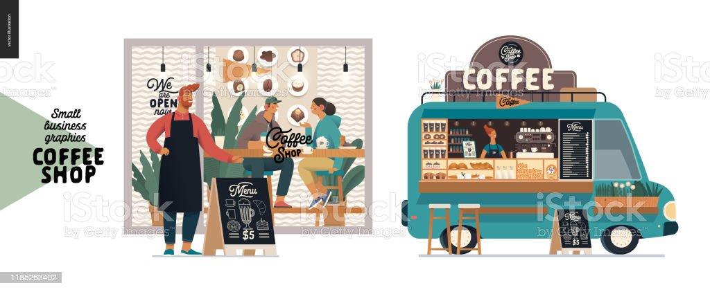 Kahve dükkanı - küçük işletme grafikleri - cephe ve gıda kamyonu - Royalty-free Adamlar Vector Art
