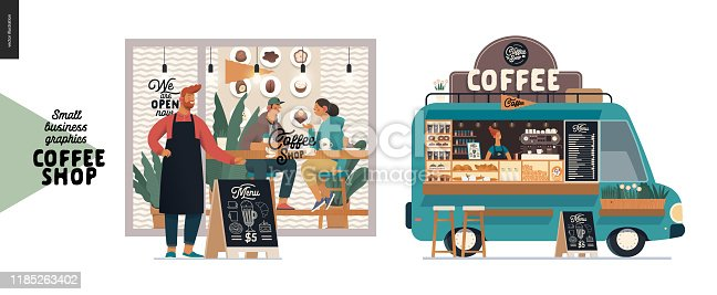 Coffee shop -small business illustrations -facade and food truck -modern flat vector concept illustration of a coffee shop owner in front of the shop, visitors inside, food truck van, pavement sign
