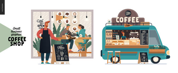 coffee shop - small business graphics - facade and food truck - small business owner stock illustrations