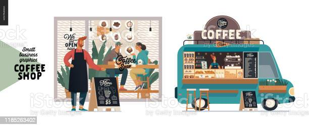 Kahve Dükkanı Küçük Işletme Grafikleri Cephe Ve Gıda Kamyonu Stok Vektör Sanatı & Adamlar'nin Daha Fazla Görseli