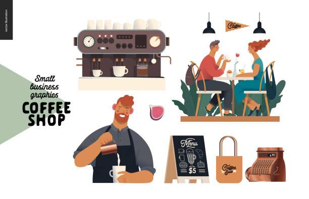 ilustraciones, imágenes clip art, dibujos animados e iconos de stock de cafetería - gráficos para pequeñas empresas - conjunto - barista