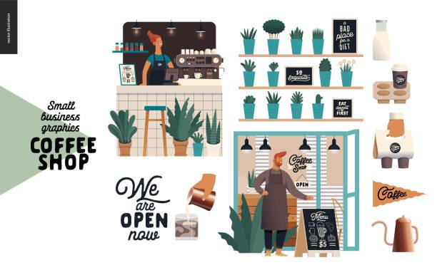 kawiarnia - grafika dla małych firm - zestaw - bar lokal gastronomiczny stock illustrations