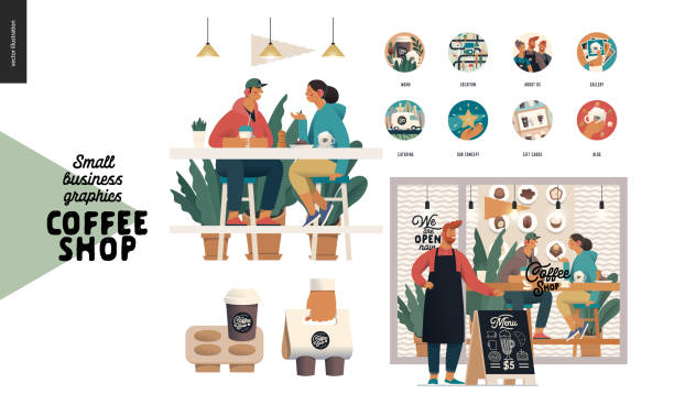 coffee shop - small business graphics - set - small business stock illustrations