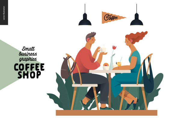 Coffee shop - small business graphics - visitors Coffee shop -small business illustrations -visitors -modern flat vector concept illustration of a young couple, cafe visitors, sitting at the table with coffee, lamps above surrounded by plants young couple stock illustrations