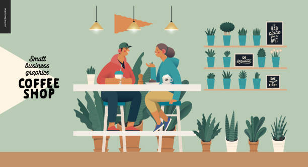 Coffee shop - small business graphics - visitors Coffee shop -small business illustrations -visitors -modern flat vector concept illustration of a young couple, cafe visitors, sitting at the high table with coffee, lamps above surrounded by plants young couple stock illustrations