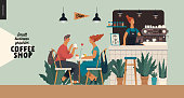 Coffee shop interior-small business illustrations -visitors -modern flat vector concept illustration of a young couple, cafe visitors and barista at the bar counter, lamps above. surrounded by plants