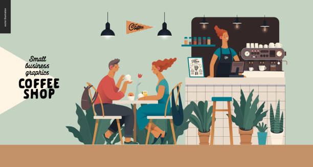 coffeeshop - kleinunternehmen grafiken - besucher - restaurant stock-grafiken, -clipart, -cartoons und -symbole
