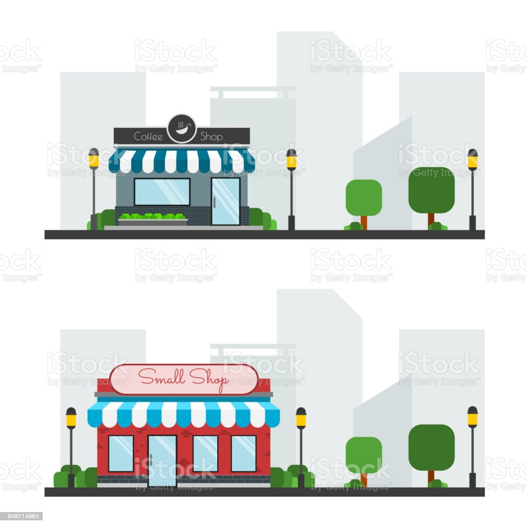 Coffee Shop Small Shop In Town Background Vector Icon Set Stock
