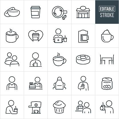Coffee Shop Thin Line Icons - Ediatable Stroke