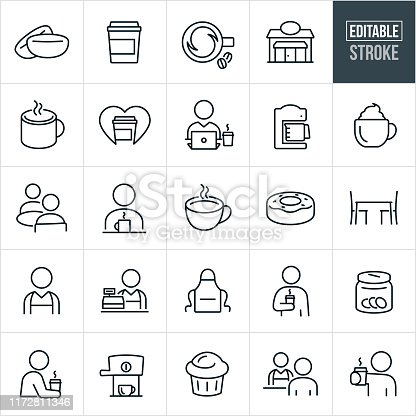 A set of coffee and coffee shop icons that include editable strokes or outlines using the EPS vector file. The icons include coffee beans, coffee cup, cup of coffee, coffee shop, barista, coffee mug, love of coffee, person working at computer and drinking coffee, coffee maker, espresso, espresso machine, cappuccino, people drinking coffee, individuals drinking coffee, donut, table with chairs, cashier, apron, tip jar, muffin and other coffee related icons.