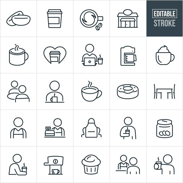 illustrazioni stock, clip art, cartoni animati e icone di tendenza di coffee shop thin line icons - ediatable stroke - solo una donna giovane