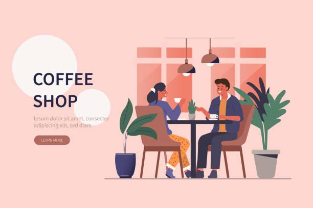ilustrações de stock, clip art, desenhos animados e ícones de coffee shop - coffe shop