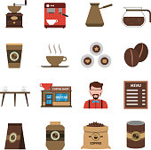 Classical coffee shop symbols with beans old style grinder and barmen flat icons collection abstract isolated illustration vector