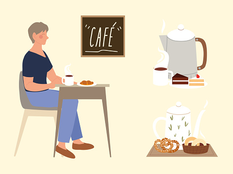 coffee shop, woman sitting with cup and croissant, service restaurant