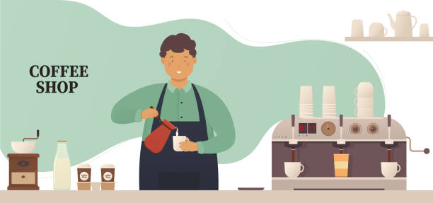 ilustrações de stock, clip art, desenhos animados e ícones de coffee shop, young barista at the bar makes a hot drink, coffee. coffee house concept with utensils. - kitchen counter