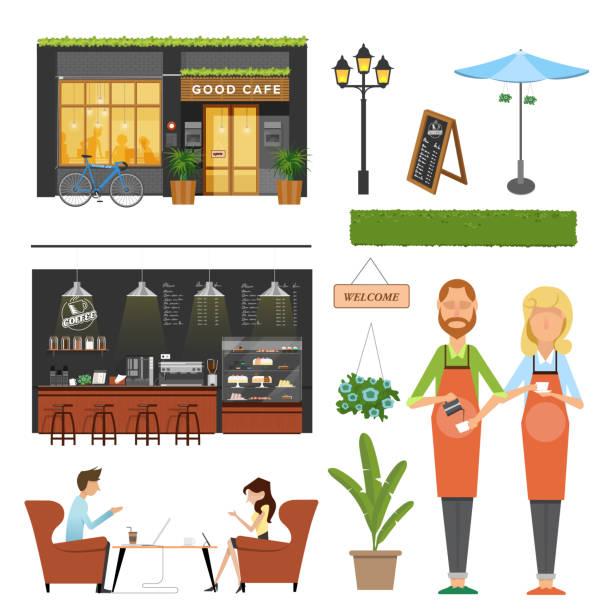 ilustrações de stock, clip art, desenhos animados e ícones de coffee shop,cafe elements,barista,coffee machine, coffee bar ,male and female customer meeting, decoration - coffe shop