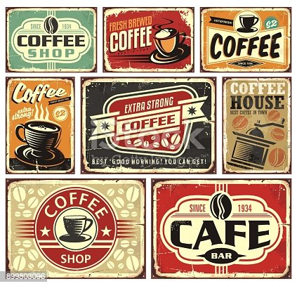 Coffee signs and labels collection. Retro and vintage coffee posters.