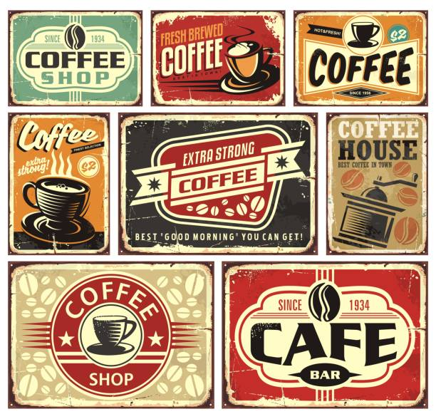 kaffee-schilder und etiketten-sammlung - cafe stock-grafiken, -clipart, -cartoons und -symbole