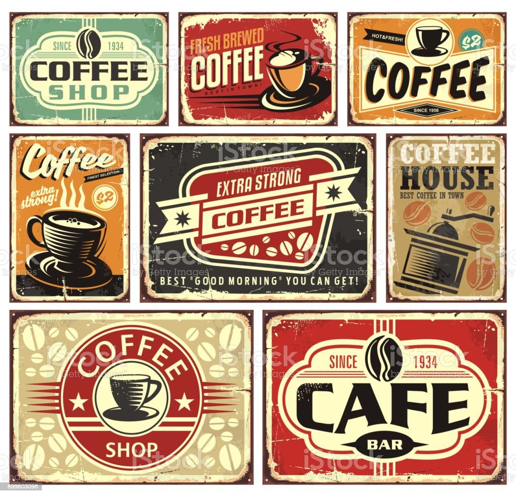 Coffee signs and labels collection vector art illustration