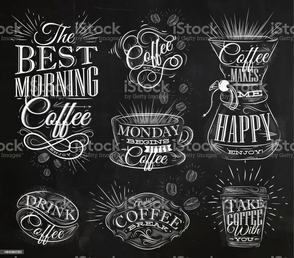 Coffee signs chalk vector art illustration