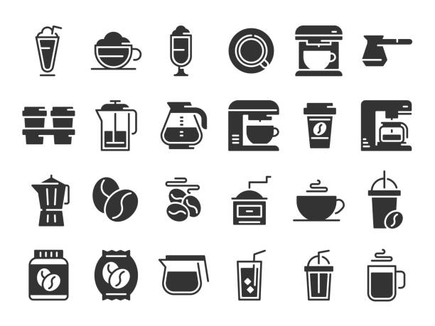 Coffee silhouette icons. Hot drink cup, coffee machine and beans vector pictograms set Coffee silhouette icons. Hot drink cup, coffee machine and beans. Cafe menu logotype, espresso cappuccino or latte coffee brainstorm vector pictograms isolated set coffee pot stock illustrations