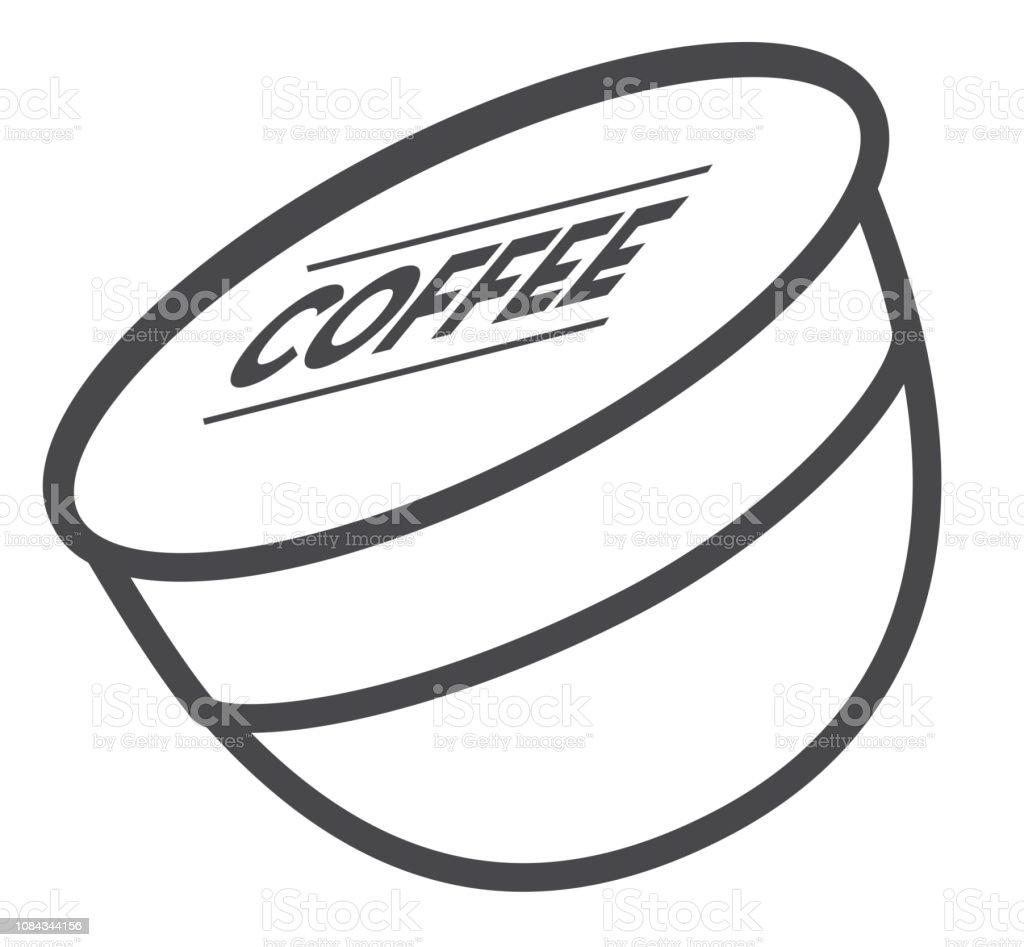 Coffee Single Serving Pod Flat Line Art Outline Design ...