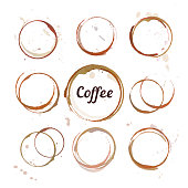 Vector set of coffee stain circles, splashes and spot isolated on white background. Hand drawing cup marks.