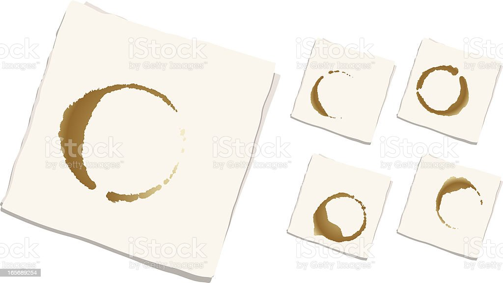 Coffee Stained Napkins (set of 5) royalty-free stock vector art