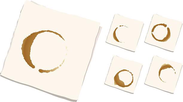 stockillustraties, clipart, cartoons en iconen met coffee stained napkins (set of 5) - servet