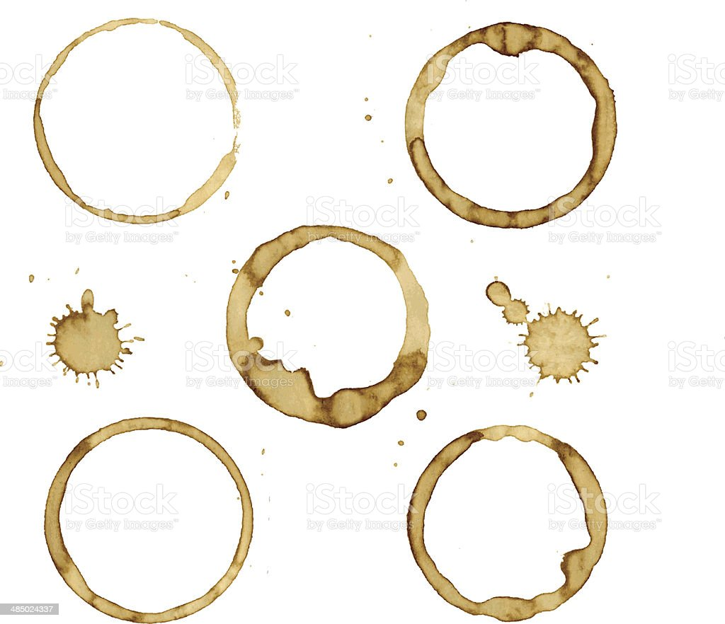 Coffee Stains vector art illustration