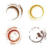 Vector illustration of a set of coffee stains