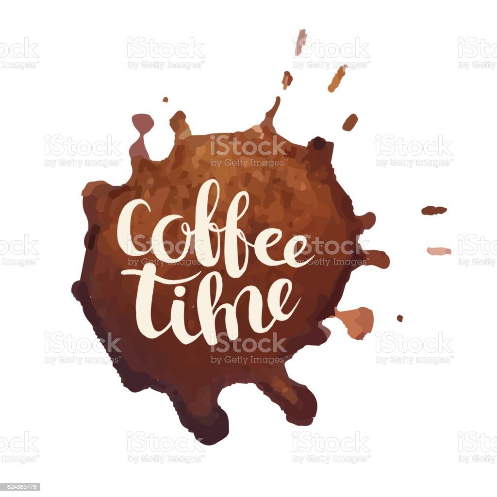 Coffee stains with lettering vector card vector art illustration