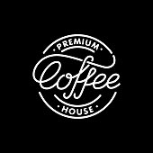 Coffee house emblem. Lettering stamp. Modern calligraphy style. Vector illustration