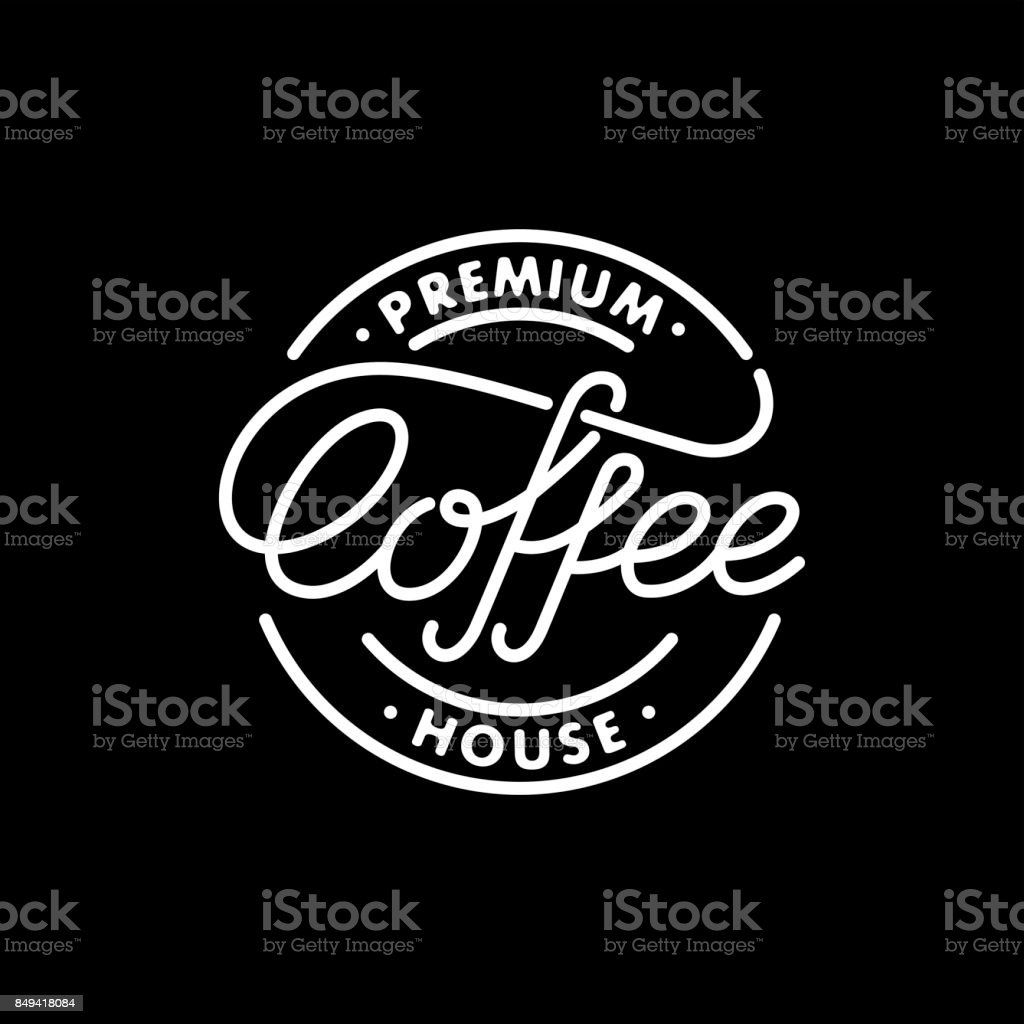 Coffee stamp black vector art illustration