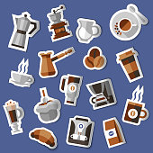 Coffee stickers set with croissant pack cream pot turk isolated vector illustration