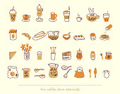 Brunch, teatime, breakfast, bakery and restaurant hand drawn icons for backgrounds, vector graphics, web design, menus