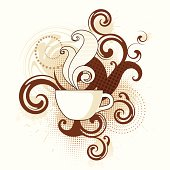 Coffee with swirls and splatters. Hi res jpeg included. Scroll down to see more illustrations linked below.