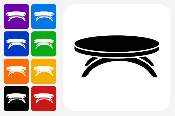 ilustrações de stock, clip art, desenhos animados e ícones de coffee table icon square button set - coffee table