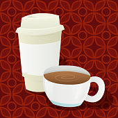 Coffee & Takeaway Cup on Seamless Background