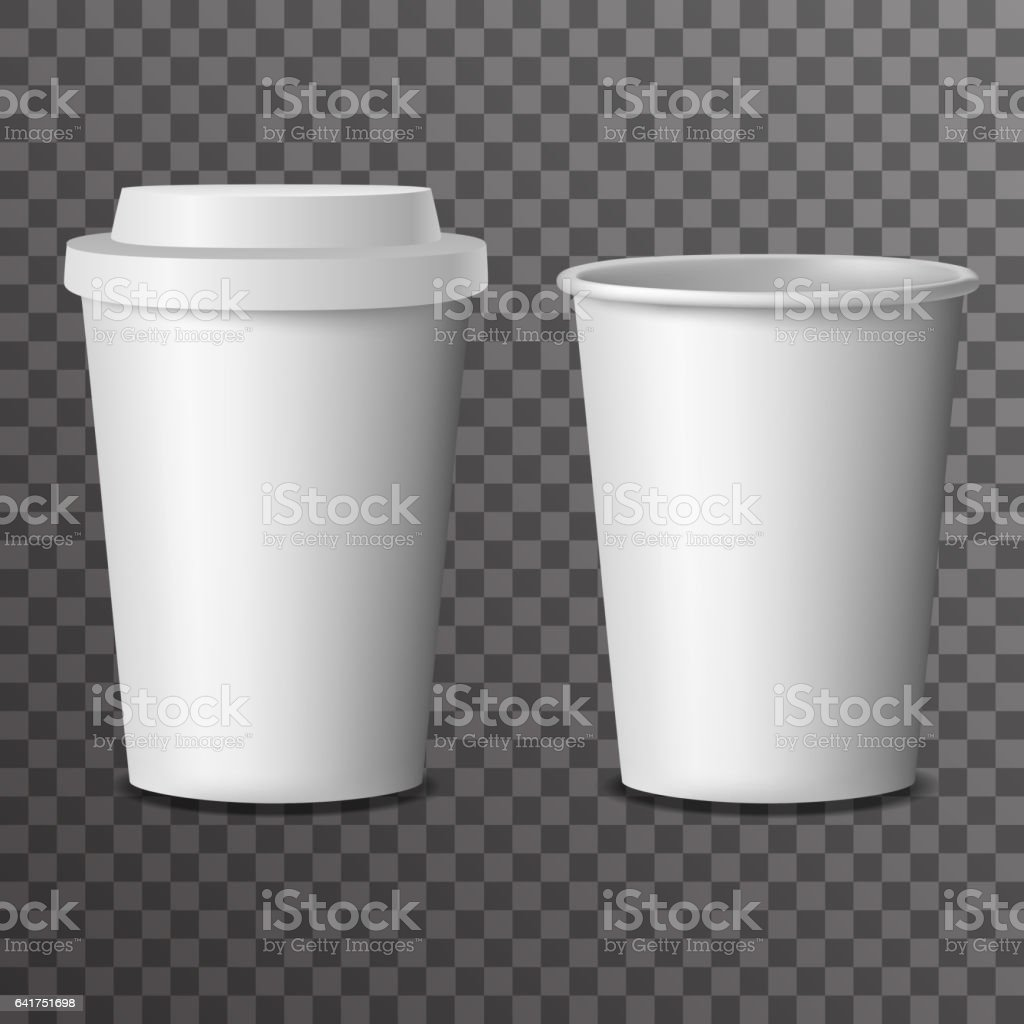 Coffee takeaway cup with cover 3d realistic mockup transparent background design vector illustration vector art illustration