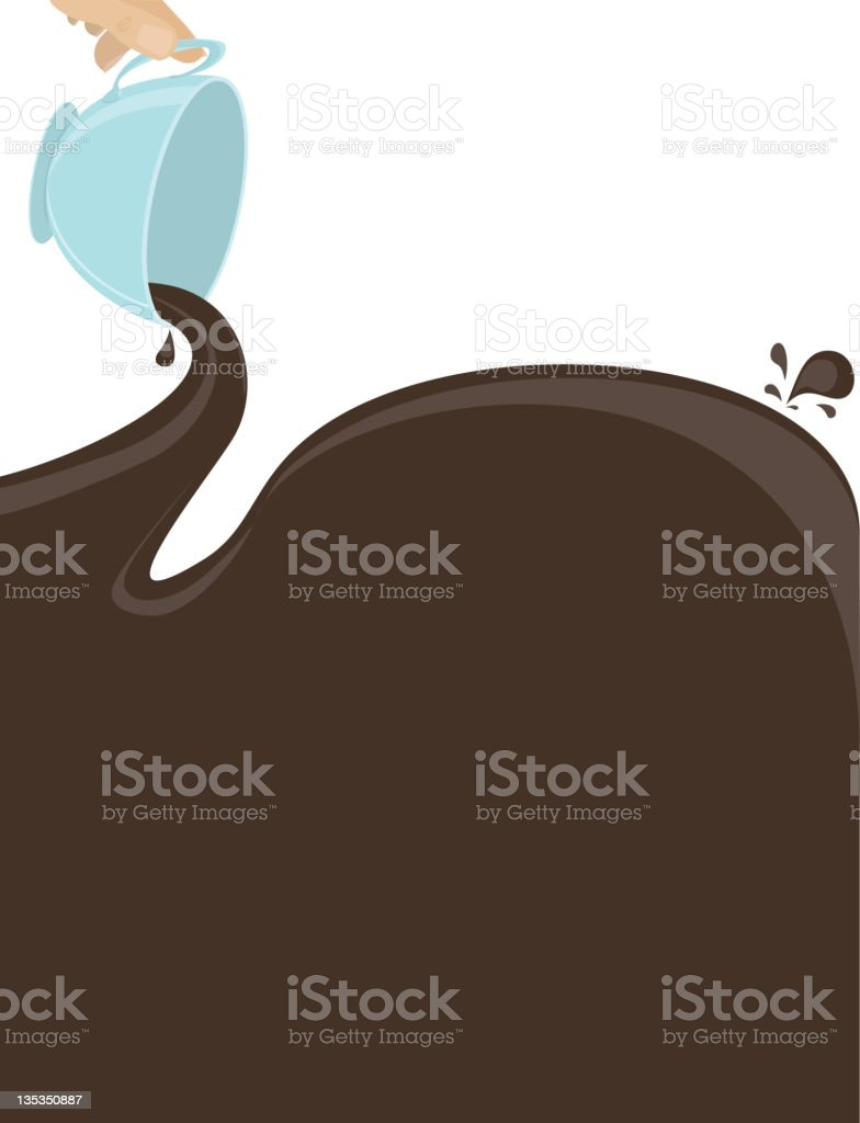 Coffee Talk, Pouring, cup, spill, Copy Space royalty-free stock vector art