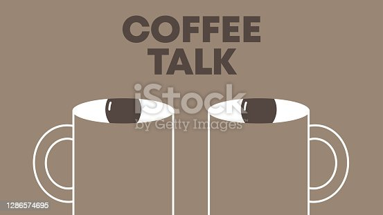 Human face made of two cups of coffee. Morning podcast or interview conceptual illustration.