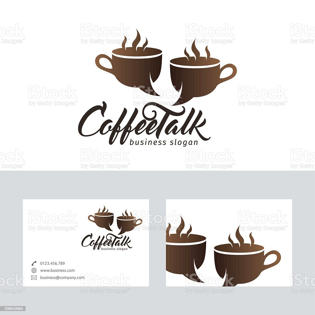 Coffee talk vector logo with business card template stock vector art coffee talk vector logo with business card template royalty free coffee talk vector logo with wajeb