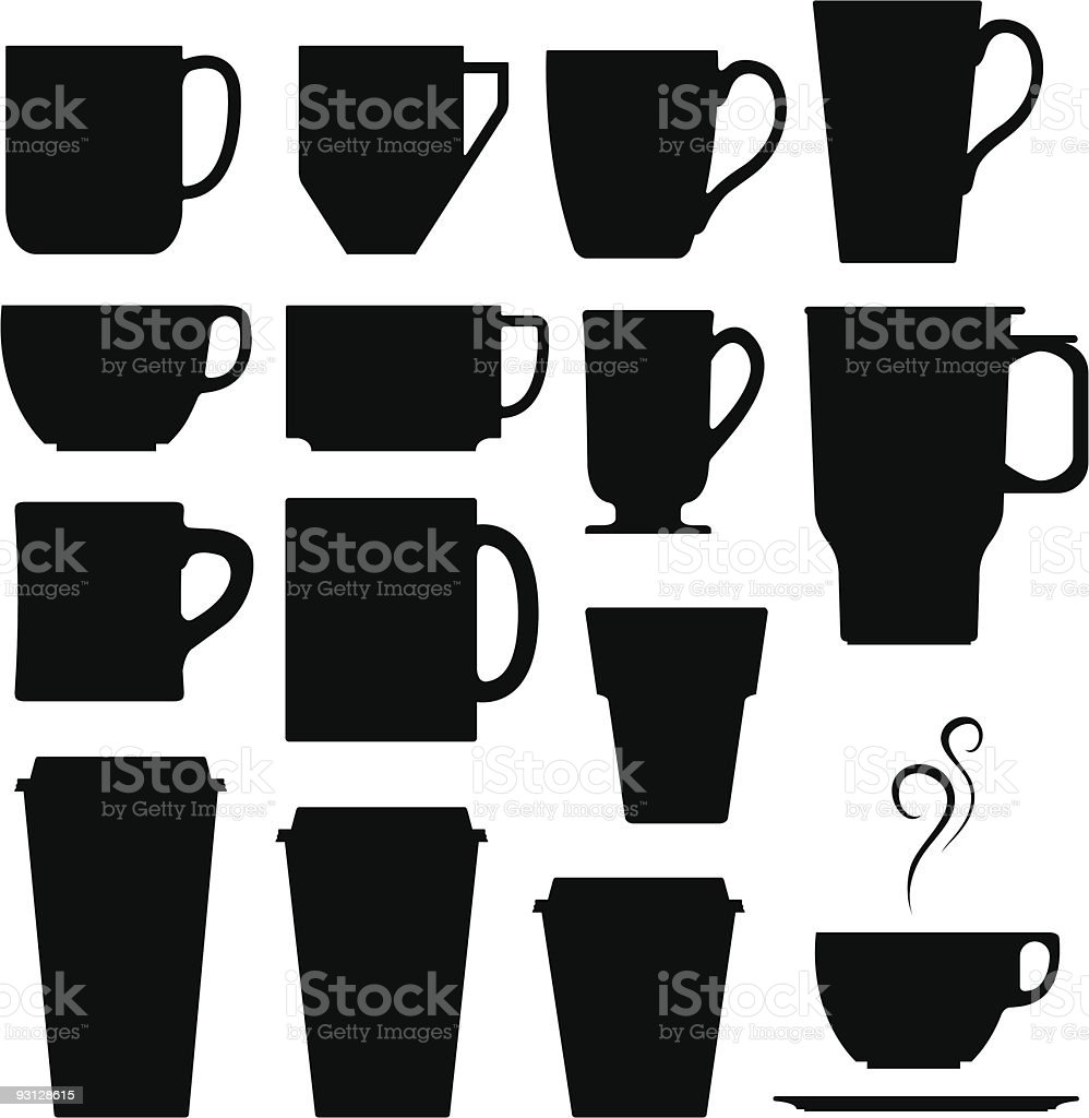 Coffee, tea, and espresso hot drink cups royalty-free stock vector art