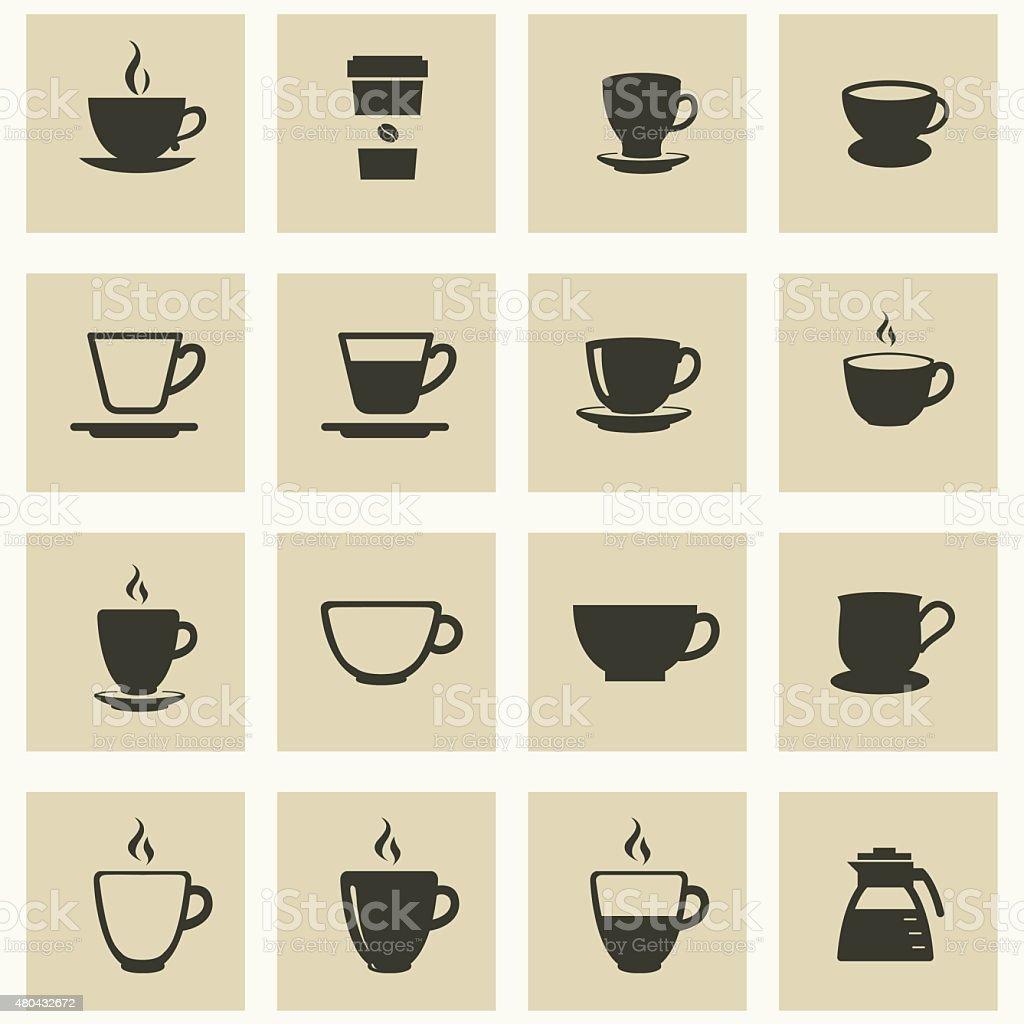 Kaffee Kuchen Icons Set Korbchen Fur Kaffee Und Tee Stock Vektor Art