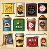A collection of assorted coffee & tea cans and packagings. EPS 10 file, with transparencies (overall layer effects only), layered & grouped.