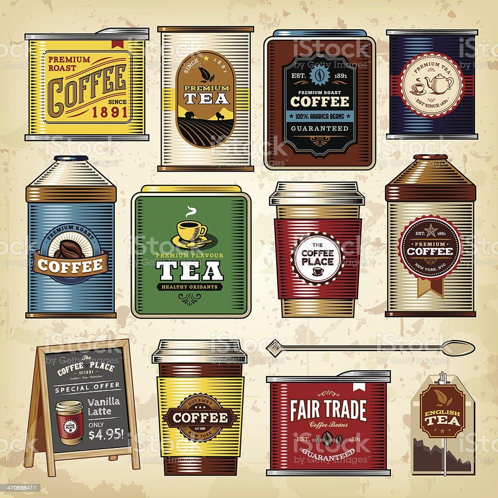 Coffee & Tea Item Set vector art illustration