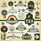 A collection of assorted coffee & tea themed design elements. EPS 10 file, with transparencies (overall layer effects only), layered & grouped.