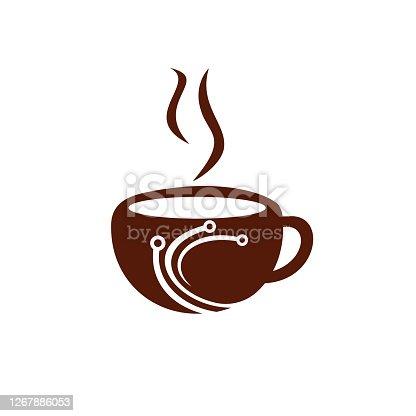 istock Coffee tech vector logo design. 1267886053