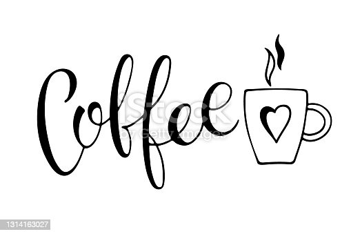 istock Coffee text. Vector calligraphy illustration. Hand written design. Text minimalist poster in braun and white. Logo for coffee company. Template of banner or poster for coffee shop or restaurant 1314163027